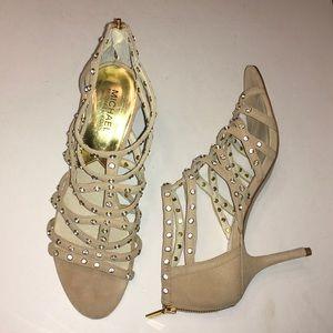 MICHAEL MICHAEL KORS tan suede & crystal heels